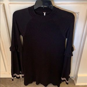 Free People XS black ribbed sweater dress